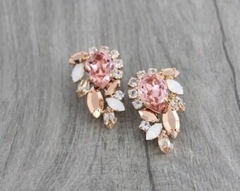 Rose gold earrings, Crystal Bridal earrings, Blush crystal earrings, Bridal jewelry, Wedding earrings, Wedding jewelry, Swarovski crystal