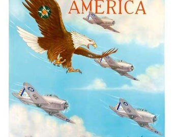 Wings Over America - U.S. Army Air Corps Poster - World War II Art - Vintage Army Print Art - Home Decor