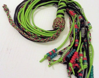Black and Green paracord flogger with knots and beads - BDSM - S & M and kinky fetish play - hard play