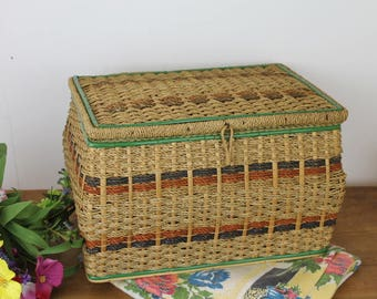 Vintage Raffia Sewing Box/ Sewing Storage & Organisation/ Sewing Basket/ Sewing and Needlecraft/Haberdashery/ Sewing (014L)
