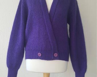 1980s St Michael cardigan•vintage cardigan•1980s fashion•purple cardigan•chunky cardigan•mohair cardigan•UK 12/14/16•US 10/12/14