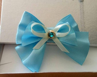 cat bow - blue bow tie with rhinestone tie- blue satin cat bow tie - bow tie for cat collars - bow tie for dog collars