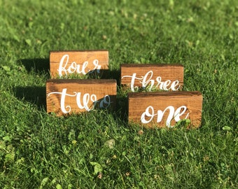Wedding Reception Table Number Blocks-Wedding Tavke Numbers-Rustic Wedding-Rustic Classy Chic Vintage Wedding-Table Numbers