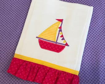 Sailboat Baby Girl Burp Cloth