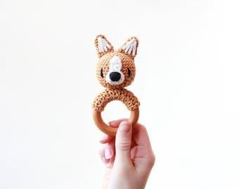 Crochet Corgi Rattle Wooden Teether – baby toy, handmade to order