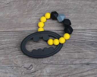 Silicone Teething Toy | Batman | Superhero | Modern | Perfect Gift | Handmade in Canada | Unique | Teething | Baby | Kenton Creations