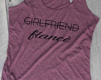 Girlfriend Fiance Maroon/Black Tank, Bride Tank, Bachelorette Party, Wedding, Bridal Party, Engagement