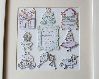 Framed Picture, New Baby Baby Girl, Nursery Picture, Princess, Birthday Gift, Christening Gift,