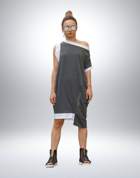 Lagenlook Balloon Dress, Asymmetric Cocoon Dress, Extravagant Loose Fit Dress, Oversized Eccentric Dress, Deconstructed Knee Length Dress