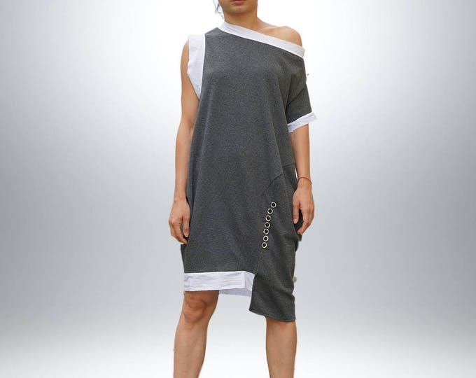 Lagenlook Balloon Dress, Asymmetric Cocoon Dress, Extravagant Loose Fit Dress, Oversized Eccentric Dress, Deconstructed Knee Length Dress