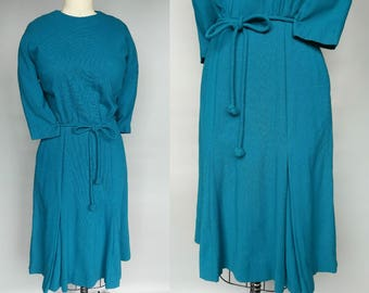 curvature / 1950s teal wool knit dress with inverted pleat skirt / 8 10 medium