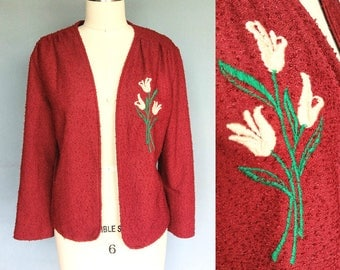 ultisol / 1970s rust boucle jacket with floral embroidery / large