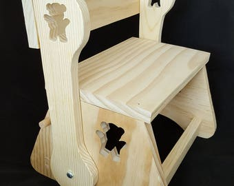 Childs basic rustic wooden chair that converts to a step stool