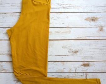 Brushed Poly Leggings, Mustard Solid