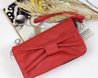 Red Leather women's clutch wallet clutch bag with bow small evening bag Crossbody bag handbag phone Wristlet clutch zipper bag