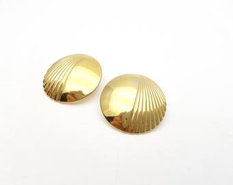 Vintage Pierced Earrings Round Stripes Gold Tone Metal Circle Stud Geometric Drop Modernist Mod Retro Classic Feminine Statement