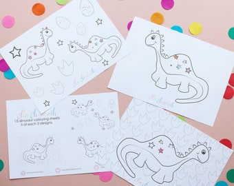 15 Dinosaur Colouring Sheets A5   Party Activity