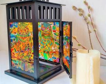 Hand Painted glass Lantern, Hanging lantern,Stained glass Candle holder,Owl decor,Owl picture, Multi coloured Glass,Abstract Design