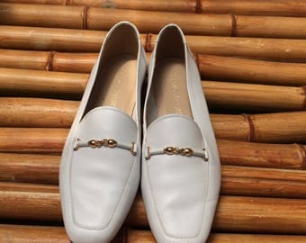 Enzo Angionlini White Leather Loafers, White Leather Flats, Brass Buckle, Genuine Leather, 1980's Women's 6.5 Shoes,
