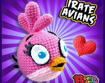 "Pink ""Irate Avian"" crochet stuffed plush"