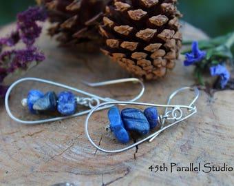 Sterling Silver Lapis Earrings, Silver Earrings, Lapis Earrings, Lapis Chip Earrings, Wedding, Bridal Earrings, Blue Earrings, Bridesmaid