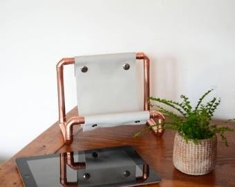 Copper Tech Accessory, Ipad Stand, Tablet Holder, Copper Kitchen Accessory,  Industrial Decor