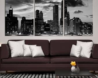 3 Panels XLarge Chicago Wall Art City Canvas Prints - Black and White Chicago Skyscrapers, Chicago Skyline Canvas Art, Home Office Decor