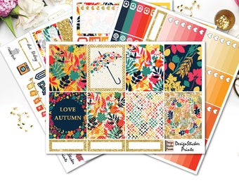 Colorful Autumn Planner Stickers for Erin Condren Lifeplanner/Forest weekly kit/Autumn Planner Stickers/Fall Weekly Planner Stickers