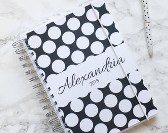 Personalised 2018 A5 Planner/Diary with or without tabbed dividers - Black & White Polka Dot