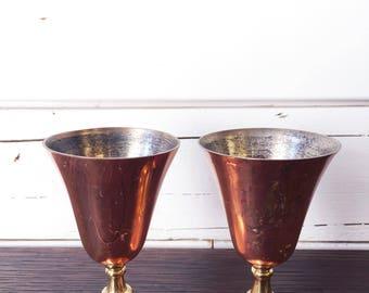 Set of vintage goblets   copper   brass   small goblets