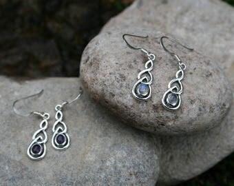 Dainty Celtic Earrings With Moonstone or Amethyst