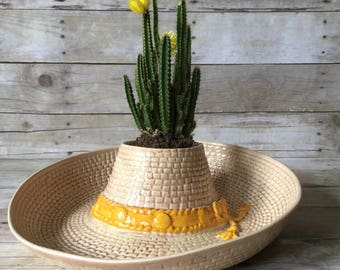 Sombrero Chip and Dip Party Bowl - Ceramic Boho Serving Bowl Vintage Hostess Gift
