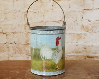 Small Galvanised Pail Ideal for Floral Display or Weddings - Country Scene
