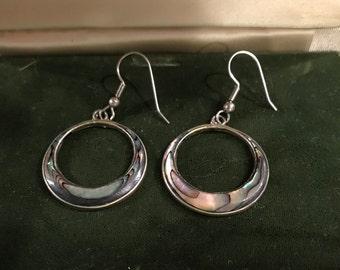 Vintage Mother of Pearl, Silver Tone Earrings