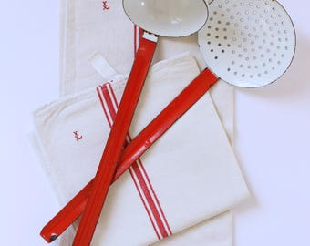 French vintage red and white enamel utensil set of two