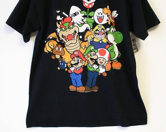 Vintage Super Mario Multiple Characters from Super Nintendo Black Shirt- Men's Large (Cotton)