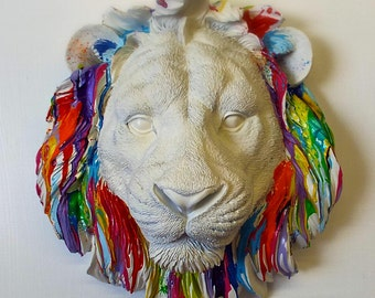 Leo Lion faux taxidermy ~ resin wall mounted art ~ rainbow bright colours custom gift ~ birthday wedding anniversary interior design