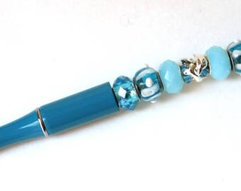 Solid Beaded Turquoise Pen for the Dolphin or Ocean Lover  (Refillable)