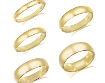 10K Solid Yellow Gold Regular Fit Plain Wedding Band Ring 2.0-6.0mm Size 5-13 - Polished