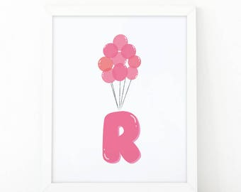 Initial r, R letter Balloons, Letter Nursery, baby pink Balloons, initial Printable, Nursery Initial Print, pink Initial Balloons, Up disney
