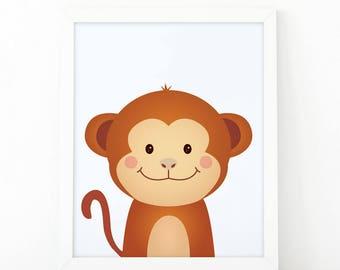 Monkey Print, wall Art Print, Instant download, Nursery print, Kids Print, animal Nursery Decor, animals wall art, Animal Nursery Printable