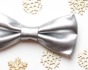 Co-worker Gift idea Christmas gifts For Boyfriend Mens bow tie Silver PU Leather bow tie Gift for men Husband gift Gift for dad Bowtie