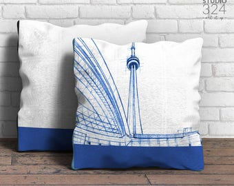 CN Tower Square Pillow | Blue Prints