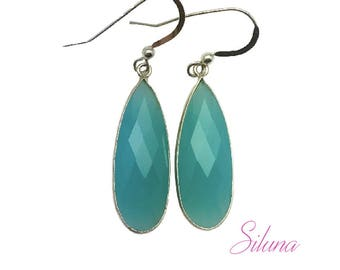 Drop dangle earrings sterling silver 925 and the Peru chalcedony