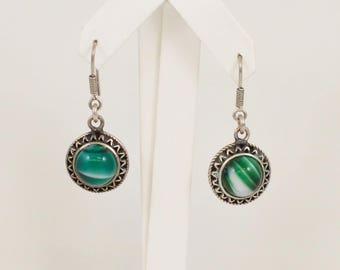 Sterling Silver 925 Green Agate Earrings(01170)