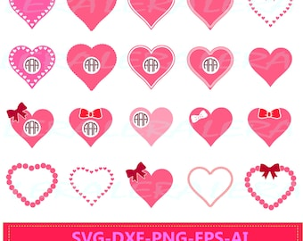 60 % OFF, Valentine day Svg, Monogram Hearts SVG, Heart SVG,  Heart File svg, png, eps, dxf, ai,  Cutting File Design, Valentines Hearts svg