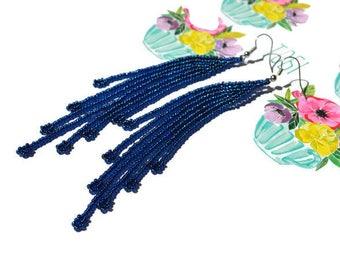 Denim blue tassel earring Jeans street style earring Dark blue seed bead earring Extra long dangle earring Long fringe earring