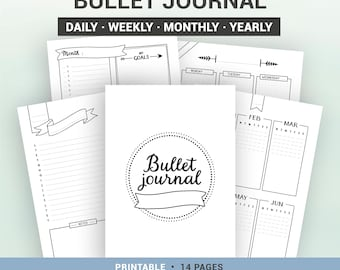 BULLET JOURNAL - Printable - Undated - Monthly & yearly calendar - monthly, weekly and daily planner pages - A5, A4, Us Letter, Half letter