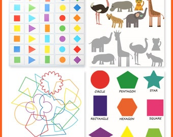 Light Table Transparencies Set of 4 / Over Head Projector / Light and Shadow Play / Reggio Inspired / Preschool / Shapes / Geometry / Color