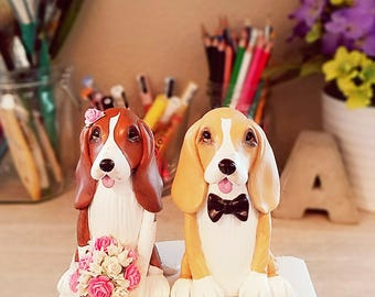 Clay Dog Cake Topper - Basset Hound Cake Topper, Custom Dog Cake Topper, Wedding Cake Topper, Cake Topper, Personalized Cake Toppers,